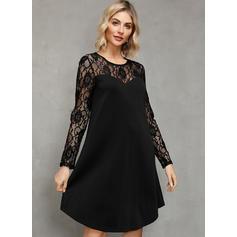 Lace/Solid Long Sleeves Shift Knee Length Little Black/Elegant Tunic Dresses