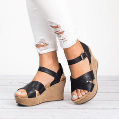 Women's Leatherette Wedge Heel Sandals Pumps Wedges Peep Toe Slingbacks With Buckle shoes