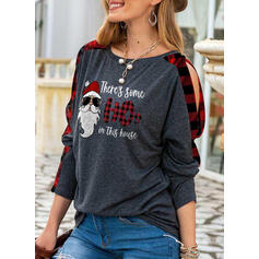 Print Figure Plaid Cold Shoulder Long Sleeves Casual Christmas Blouses