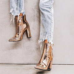 Frauen Lackleder Stämmiger Absatz Absatzschuhe Geschlossene Zehe Stiefelette mit Reißverschluss Schuhe