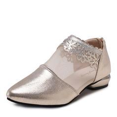 Femmes PU Talon bas Escarpins Bout fermé avec Une fleur chaussures