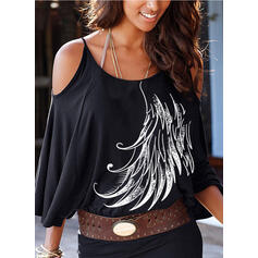 Print 3/4 Sleeves/Batwing Sleeves/Cold Shoulder Sleeve Bodycon Above Knee Casual Dresses