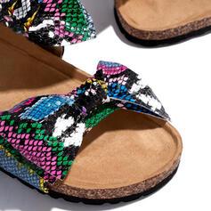Femmes PU Talon plat À bout ouvert Chaussons avec Bowknot La copie Animale chaussures