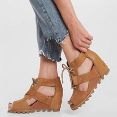 De mujer PU Tipo de tacón Sandalias Plataforma Cuñas Encaje con Cordones zapatos