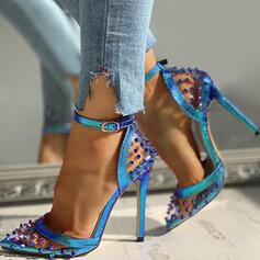 Femmes PU Talon stiletto Escarpins Bout pointu avec Rivet Transparent chaussures
