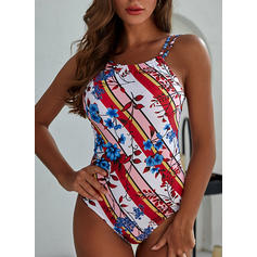 Floral Print Strap High Neck Beautiful One-piece Swimsuits