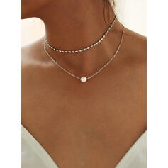 Fashionable Alloy Rhinestones Imitation Pearls Necklaces