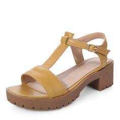 De mujer PU Tacón ancho Sandalias Salón Plataforma Encaje Solo correa con Hebilla zapatos