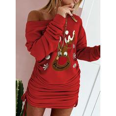 アニマルプリント 長袖 ボディコンドレス 膝上 クリスマスドレス/カジュアル スウェットシャツ ドレス