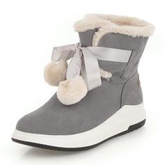 Femmes Suède Talon bas Bout fermé Bottes Bottines Bottes neige avec Bowknot Dentelle Fausse Fourrure chaussures