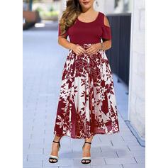 プラスサイズ フローラル 印刷 半袖 Aラインワンピース ミディ エレガント ドレス