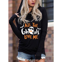 baskı Cadılar bayramı Uzun kollu Kapüşonlu svetşört