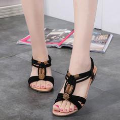 Naisten Kangas Matalakorkoiset Heel Sandaalit jossa Helmikoristelu kengät