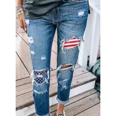 gestreift Geometrisch Taschen Übergröße Lange Lässige Kleidung Sportlich Denim Jeans