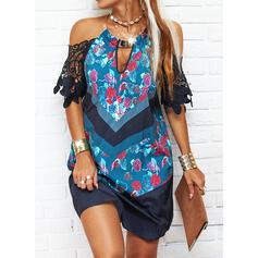 Lace/Print 1/2 Sleeves Shift Above Knee Elegant Dresses