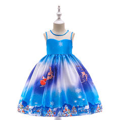Girls Round Neck Print Party Christmas Dress