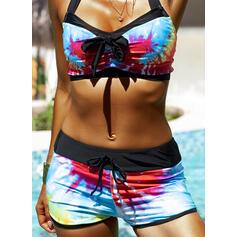 Cintura Alta Impresión Color de Empalme Correa Cuello en V Boho Bikinis Trajes de baño