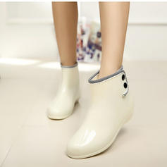Femmes PVC Talon bas Bout fermé Bottes Bottines Bottes de pluie avec Rivet chaussures