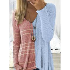 Χρωματικό μπλοκ Ριγέ V-λαιμός Μακρυμάνικο Καθημερινό Блузи