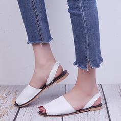 Femmes PU Talon plat Sandales Chaussures plates À bout ouvert avec Élastique chaussures