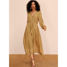 Print Long Sleeves A-line Midi Casual Dresses