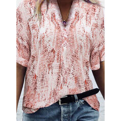 Tie Dye V-Neck 1/2 Sleeves Casual Blouses