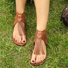 Femmes PU Talon plat Sandales Chaussures plates avec Tassel chaussures