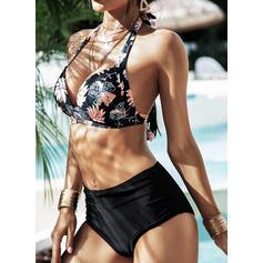 Effen kleur Hoge Taille Riem V-hals Sexy Grote maat Bikini's Badpakken