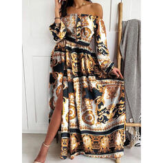 Print Long Sleeves A-line Skater Vintage/Party/Boho Maxi Dresses