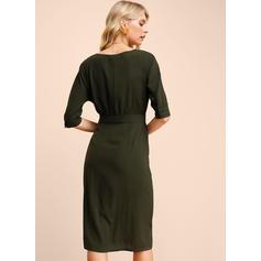 Solid 1/2 Sleeves Sheath Knee Length Casual Dresses