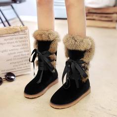 Frauen Veloursleder Flascher Absatz Stiefel Stiefel-Wadenlang mit Zuschnüren Pelz Schuhe