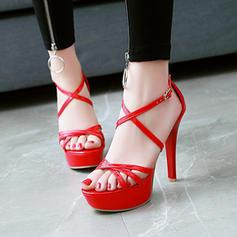 De mujer PU Tacón stilettos Sandalias Salón Plataforma Encaje con Hebilla zapatos