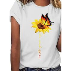 Animal Print Sunflower Print Round Neck Short Sleeves Casual T-shirts