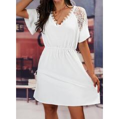 Jednolity Koronka Krótkie rękawy Sukienka Trapezowa Nad kolana Nieformalny Łyżwiaż Sukienki