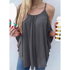 Solido Sottili Batwing Sleeve Casuale Camicie