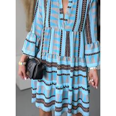 Imprimée Manches Longues/Manches Évasées Droite Longueur Genou Décontractée Tunique Robes