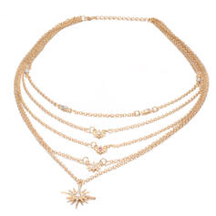 Boho Layered Shining Star Alloy With Star Sun Necklaces (Set of 5)