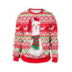 Mélange de coton Inmprimé Renne Sweat de Noël