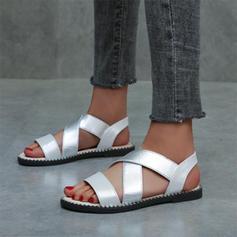 Dla kobiet Skóra ekologiczna Płaski Obcas Sandały Z Elastic Band obuwie