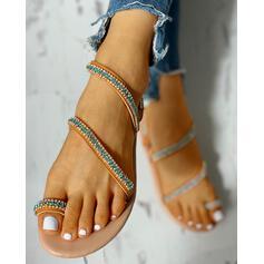 Femmes PU Talon plat Sandales À bout ouvert Chaussons avec Strass chaussures