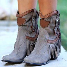 Femmes PU Talon bottier Bottes mi-mollets avec Rivet Tassel chaussures