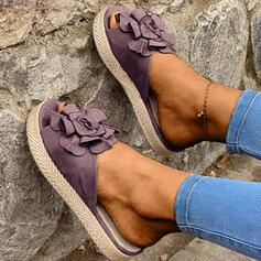 Femmes Suède Talon plat Sandales À bout ouvert Chaussons avec Une fleur chaussures