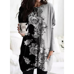 Print Floral Pockets Round Neck Long Sleeves Sweatshirt