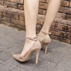 De mujer Ante Malla Tacón stilettos Salón Cerrados con Hebilla zapatos