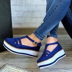 Mulheres Camurça Salto baixo Sem salto Fechados com Fivela Oca-out sapatos
