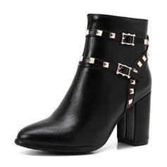 Femmes Similicuir Talon bottier Bottes Bottines avec Rivet Boucle chaussures