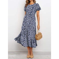 Print/Floral Short Sleeves/Puff Sleeves A-line Skater Casual/Elegant Midi Dresses