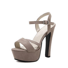 Women's Suede Stiletto Heel Sandals Pumps Platform Peep Toe Slingbacks With Buckle shoes