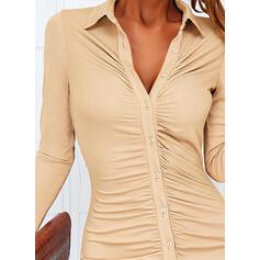 Solid Lange ermer Bodycon Overknee Avslappet T-skjorte Kjoler