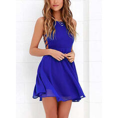 Solid Sleeveless A-line Above Knee Sexy/Party Slip Dresses